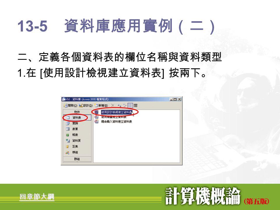 13-5 資料庫應用實例(二) 二、定義各個資料表的欄位名稱與資料類型 1.在 [使用設計檢視建立資料表] 按兩下。 回章節大綱